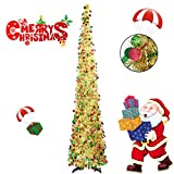 Collapsible Christmas Trees 6 Foot Artificial Tinsel Xmas Tree, Pop Up Multicolored Pencil Sequin Coastal for Holiday, Apartment, Party, Home, Office, Christmas Decorations, Fireplace–Colorful Gold