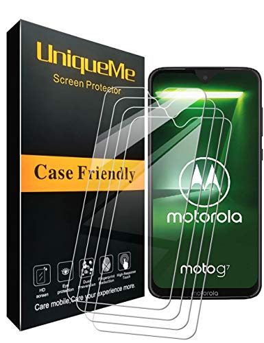 [3 Pack] UniqueMe Compatible with Motorola Moto G7 / Moto G7 Plus Screen Protector,[Japan Tempered Glass] 9H Hardness