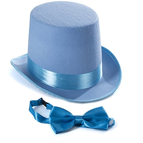 Tigerdoe Top Hat Costume - Top Hat with Bow Tie - Adult Costume Set -Costume Hats (Light Blue)