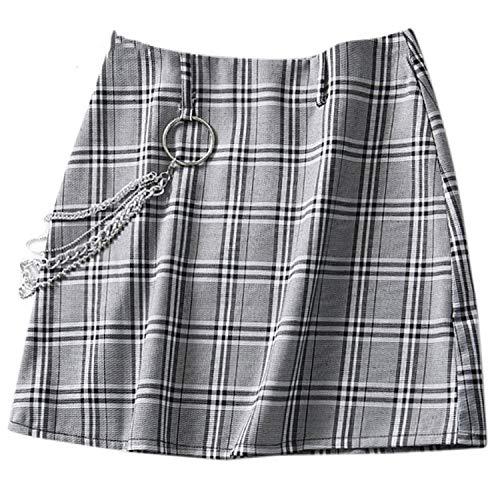 Beenle Icey-skirts Minifalda de Cintura Alta de tartán Gris para Mujer, Falda de línea A, Falda de Cuadros para Mujer, Falda Corta Delgada - - Medium