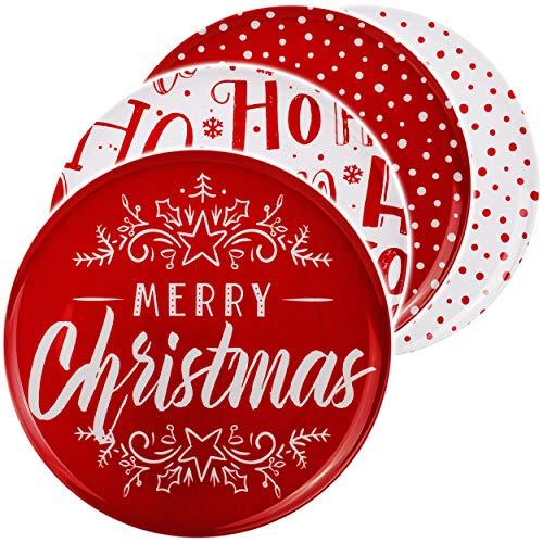 4 Stück _ große Teller / Speiseteller / Plätzchenteller - Weihnachten - Motiv-Mix - weiß & rot - Ø 28 cm - Flach - rund - Mehrweg - Melamin Kunststoff - Desse..