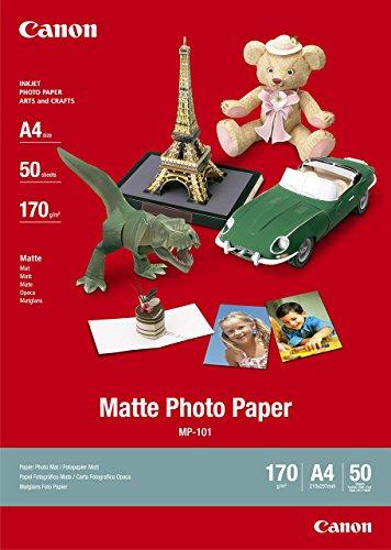 Canon Fotopapier MP-101 matt weiß - (DIN A4 50 Blatt) für Tintenstrahldrucker - PIXMA Drucker (170 g/qm)