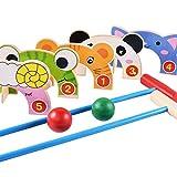 Bangcool Croquet Set, Cartoon Animals Croquet Set Wooden Golf Toys Baseball Sports Games, Educational Games for Kids Includes 5 Wickets, 2 Mallets, 2 Balls