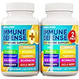 (2 Pack) 10 in 1 Immune Defense Pills with D3 Vitamin 5000 iu, Vitamin C 1000 mg, Zinc 50 mg - Overall Health and Immunity Booster - Immune Support Supplement with Elderberry, Echinacea, Ginger