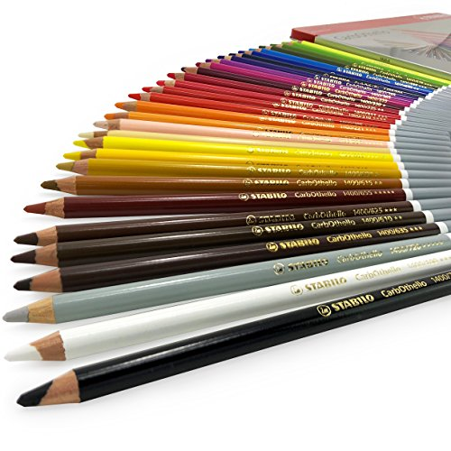 STABILO CarbOthello Chalk Pastel Colouring Pencils – Gift Tin of 36 Assorted Colours