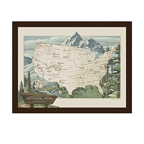 National Parks Push Pin Travel Map | USA National Parks Map