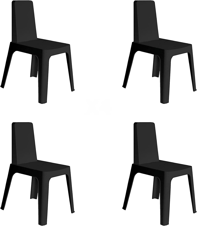 RESOL Julia Set 4 Sillas de Jardín Apilables | Terraza, Patio, Exterior, Comedor, Reuniones | Diseño Moderno y Minimalista | Ligera y Resistente | Filtro UV - Color Negro
