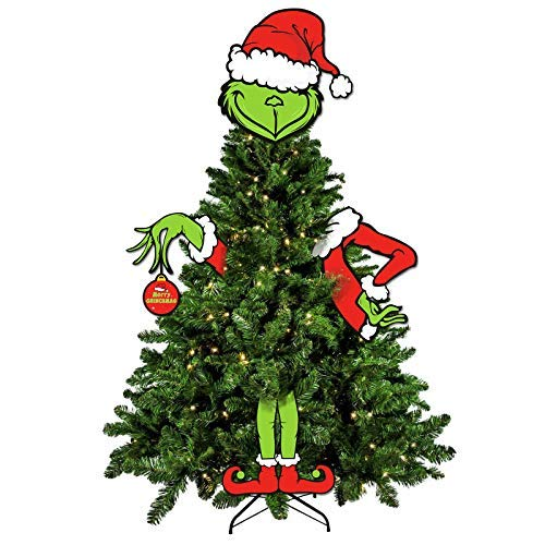 Bessmoso Small Size Grinch Christmas Tree Decorations, Merry Grinchmas Tree Topper The Grouch Winter Holiday Wreath Decors Indoor Photo Props, Set of 4