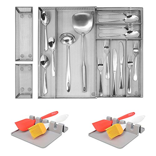 Kitchen Drawer Organizer Expandable, 7+2 Large Utensils Silverware Drawer Organizer with 2 Pcs Gray Spoon Rest, Mesh Cutlery Tray Drawer Organizer, Silverware Tray Storage for Utensils Flatware
