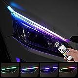 Tira LED luces de giro for Faro 2X secuencial fluye RGB luz corriente diurna DRL del multicolor,Luces de circulación diurna (Color : 60cm, Emitting Color : RGB)