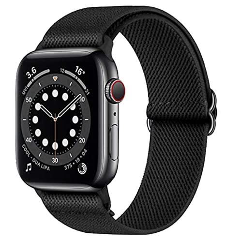 Younsea Apple Watch Correas Compatible con Apple Watch 44mm 42mm 38mm 40mm, Pulseras de Repuesto de Nylon Correa para iWatch Series 6 5 4 3 2 1 / Apple Watch SE, Mujer y Hombre - Negro