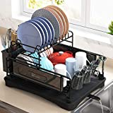 Dish Drying Rack, 1Easylife 2-Tier Compact Kitchen Dish Rack Drainboard Set, Large Rust-Proof Steel Dish Drainer with Swivel Spout, Utensil Holder, Non-Slip Cup Holder for Kitchen Counter