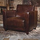 Phoenixarts Echtleder Vintage Sessel Ledersessel Braun Antik Design Lounge Retro Sofa Möbel NEU 441