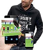 PIXEL EVOLUTION Sweat à Capuche 3D Rugby France en Réalité Augmentée Homme - Taille L - Noir