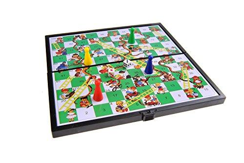 Magnetisches Brettspiel (kompakte Reisegröße): Leiterspiel / Schlangen und Leitern / Snakes and Ladders - magnetische Spielsteine, Spielbrett zusammenklappbar, 19cm x 19cm x 1cm, Mod. SC6610 (DE)