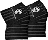 Knee Wraps (Pair) With Strap for Squats, Weightlifting, Powerlifting, Leg Press, and Cross Training - Flexible 72 inch Knee Wraps for Squatting - For Men & Women (Gray)