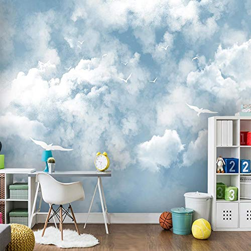 Relovsk fotobehang eenvoudige blauwe hemel en witte wolken fotobehang 3D kinderen slaapkamer woonkamer waterdichte sticker 350 cm x 256 cm.