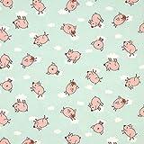 Dekostoff Canvas fliegende Schweine – mintgrün — Meterware ab 0,5m — STANDARD 100 by OEKO-TEX® Produktklasse II — zum Nähen von Kinder Deko, Babydekoration & Kissen/Tagesdecken