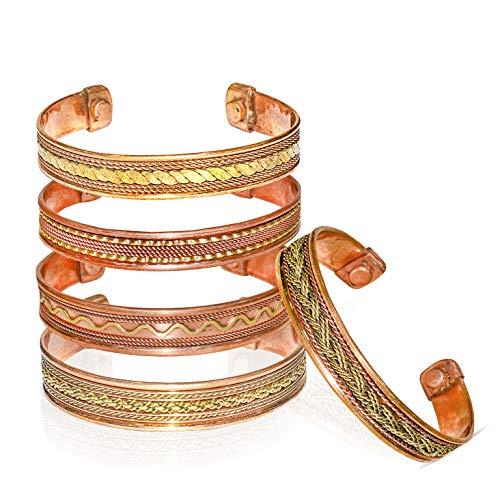 SUBYATH Copper Bracelet Adjustable Peace Chakra Healing Yoga Meditation Magnetic Bangel Spiritual Jewelry for Men Women 5 Pcs Set