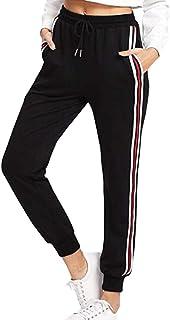 4893b5350a84 Pantaloni Sportivi Donna, Striscia Laterale Pantaloni della Tuta Pantaloni  Lunghi Vita Elastica con Coulisse,