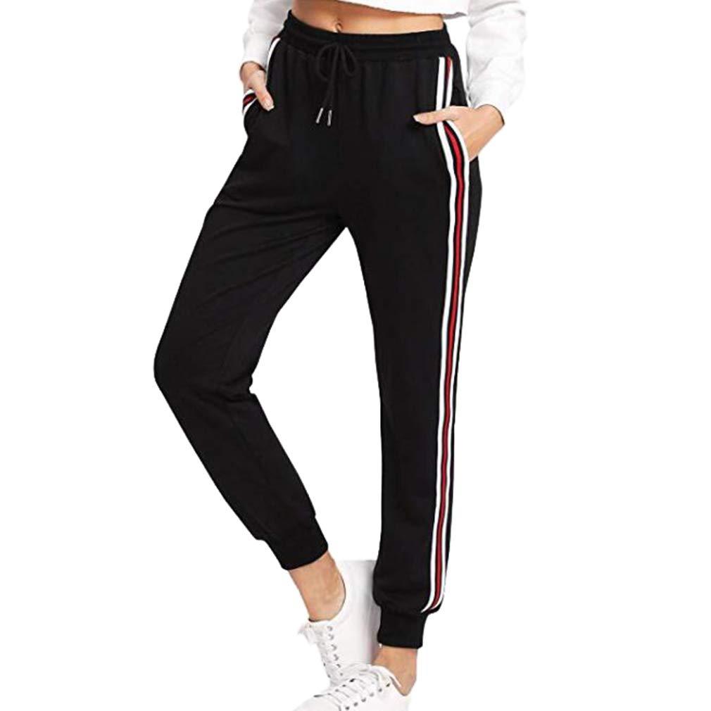 Femme Pantalon de Sport avec Poches & Cordon de Serrage Pantalon de Survêtement Piqûre À Rayures Pantalon Long Yoga/Fitness/Gym/Randonnée/Jogging, S-3Xl Gris/Noir/Vin Rouge