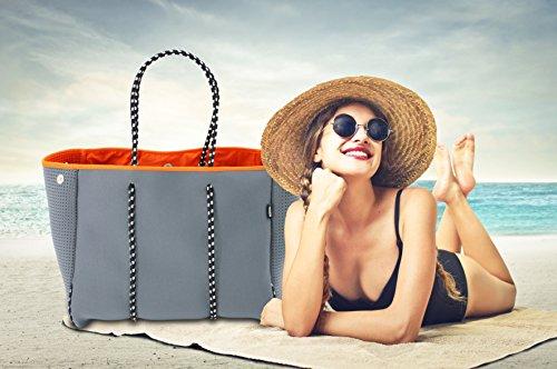 QOGiR Neoprene Multipurpose Beach Bag Tote with Inner Zipper Pocket (Grey, Large)