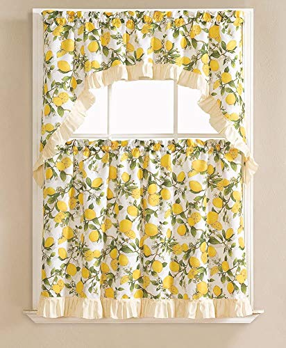 """Golden Rugs 3pc Kitchen Curtain and Valance Set/1 Swag Valance and 2 Tiers,2 Tiers Width 30""""x 36"""" Each and The Valance Length 60""""x36"""" (Lemon Printed)"""
