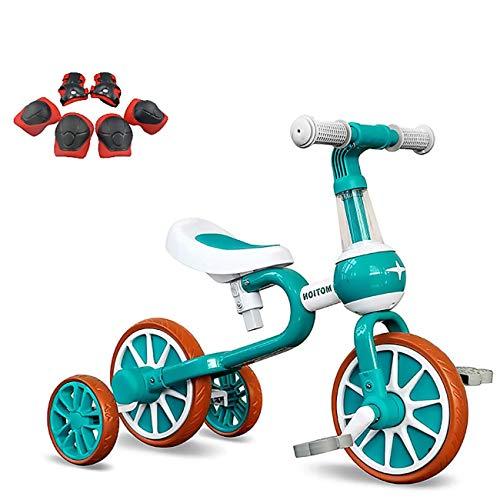 YWJPJ. Scooter de Equilibrio para niños, Bicicleta de Balance Infantil con Asiento Ajustable, para niños y niñas Edad 10-36 Meses, Bicicleta de Balance Infantil Tiene 4 (2) Ruedas,Verde