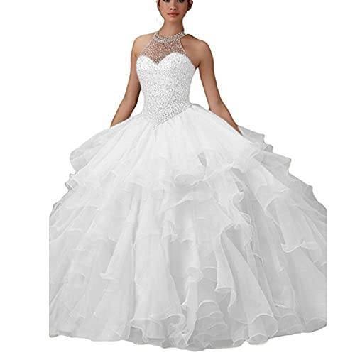 4ceb954759e WHZZ Halter Neck Heavy Beaded Organza Quinceanera Dresses White Sweet 16  Ball Gowns at Amazon Women s Clothing store