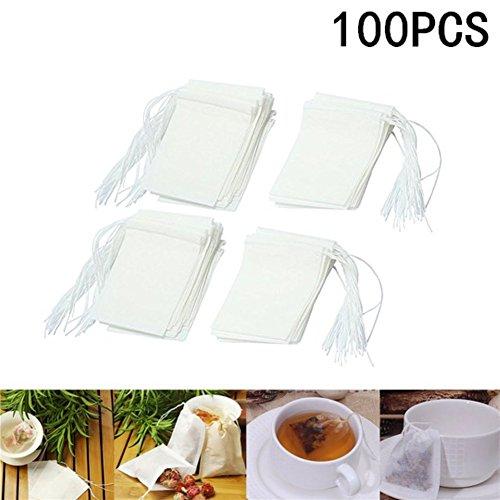 100 X milopon Fine Sachets de thé filtre à thé Filtre Aspirateur Jetables Filtre non-tissé pour le thé fruits Thé Fleurs de thé épices herbes poudre dans Théière Tasse