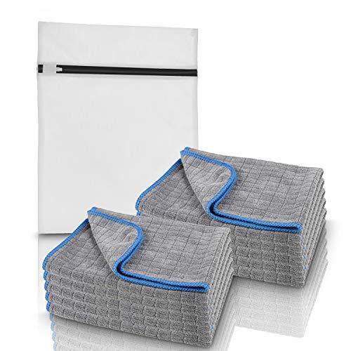 Clean flix® Mikrofasertücher – [10x] Mikrofasertuch mit praktischem Waschbeutel – Extrem saugstarkes & strapazierfähiges Microfasertuch zur Motorrad und Autopflege - saugstarkes Reinigungstuch
