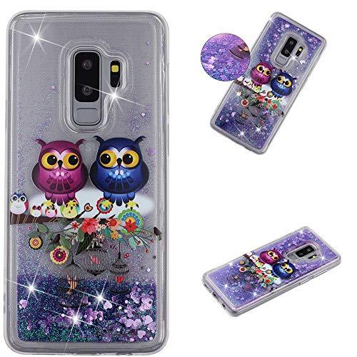 QFUN für Samsung Galaxy S9 Plus Handyhülle mit Glitzer Flüssig,Funkeln Bunt Muster [Eule] Transparent Dünn Silikon Schutzhülle Stoßfest Fallschutz Weich Klar Hülle und Schutzfolie