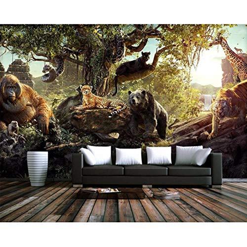 Fotobehang 3D Behang, Bos Dieren Wereld Decoratie Schilderij 3D Muurschilderingen, Behang voor Woonkamer Muren 280 cm (B) x 180 cm (H)