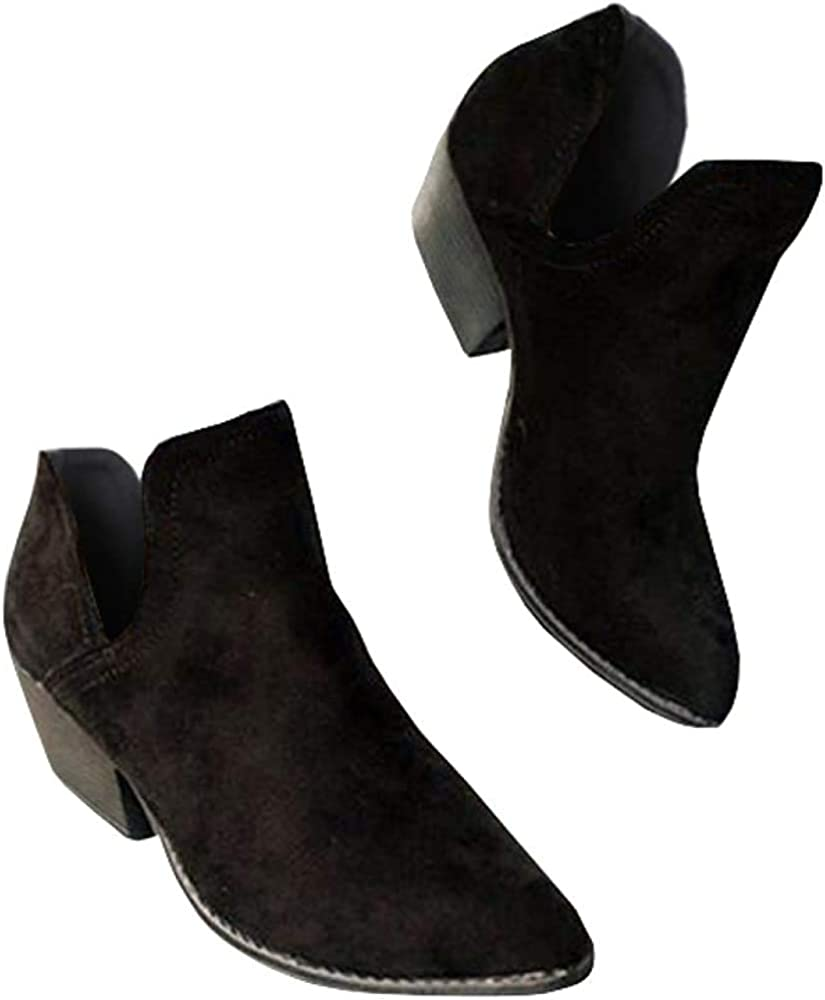 Womens Fall Cutout Ankle Boots Chunky