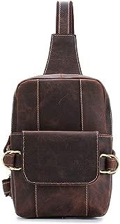 Men's Business Casual Chest Bag, Leather Shoulder Messenger Bag Outdoor Travel (Color : Brown, Size : M)