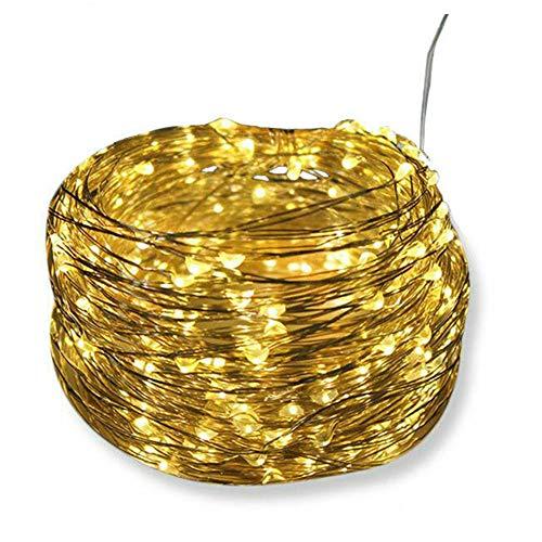 ALLOMN - Guirnalda de luces solares de 10 m, resistente al agua, 100 luces LED de alambre de cobre, para jardín, patio, puerta, fiesta, boda, colorida
