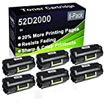Paquete de 6 cartuchos de impresora de alto rendimiento compatibles 52D2000 para impresoras Lexmark MS810de MS810dn MS810dtn MS810n MS811dn MS811dtn MS811n