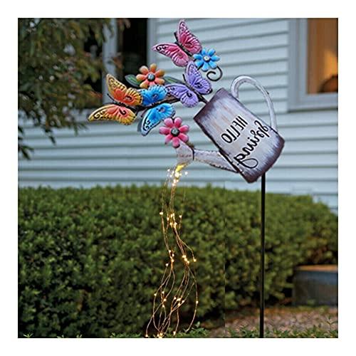 HCHL Regadera, Canal de riego Solar 2D, luz de Hadas Compatible con jardín, Planta de Planta Ornamental al Aire Libre decoración, para Plantas De JardíN De Interior Y Exterior (Color : Butterfly)