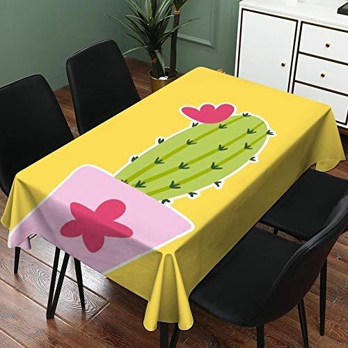 ghn Mantel antiarrugas y resistente a la decoloración, mantel impermeable con diseño de cactus para decoración del hogar, mantel para sofá, se puede utilizar en interiores y exteriores.