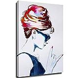 Cuadro de dormitorio para pared, diseño de mujer maravilla Audrey Hepburn Rock Lienzo y pintura al óleo elástica y marco de 61 x 91 cm