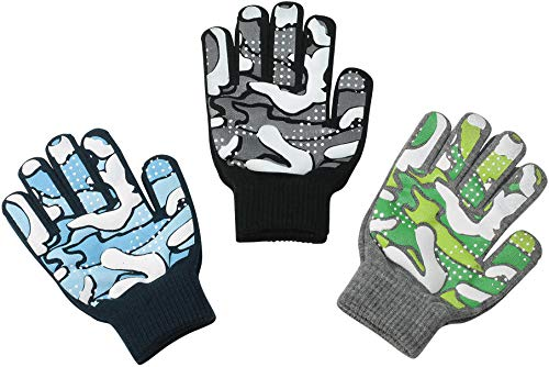 Magic Stretch Winter Gloves for Boys, Kids & Children Toddler Toddlers - 3 Pack Camo 14cm