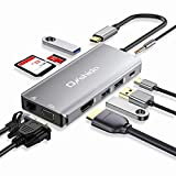 Onshida Hub USB C Adaptateur USB C 10-en-1 vers HDMI 4K, Ethernet RJ45, VGA, Type C PD 87W, 3 x USB 3.0, Lecteur de Carte SD&TF, 3.5mm AUX Jack pour Macbook Pro/Air Dell XPS Chromebook Tablette USB C
