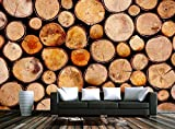 Papel Pintado Pared 3D Pared Pila De Madera De Grano De Madera Retro Fotomurales Decorativos Pared Decoración Mural Pared