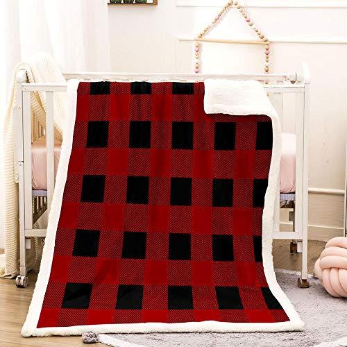 BEDSERG Tirar Las Mantas Gruesas para Adultos niños Tela Escocesa Negra roja Manta Polar Super Suave Colcha Sherpa Manta para la Cama y sofá 150x200cm