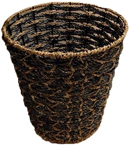 LXTIN Creative Handmade Trash Can, Household Trash basket trash basket storage basket for Living Room Bedroom Storage Basket Trash Can (Color : Black)-Black
