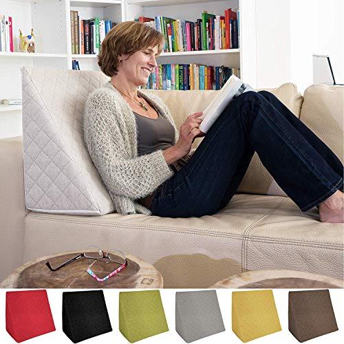 Sabeatex Il Fantastico Cuscino a Cuneo per Il Vostro Soggiorno o Camera da Letto, Cuscino da Lettura per Una Seduta Rilassata. 5 Colori in Tinta Unita per Un Design d'interni alla Moda (Bianco)