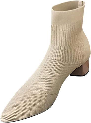 Theshy Stiefeletten Damen Starke Ferse High Heel Stiefel Mittlerer Absatz Blockabsatz Schuhe Ankle Kurzschaft Frau Spitze Zehe Quadratische Stricken Freizeitschuhe
