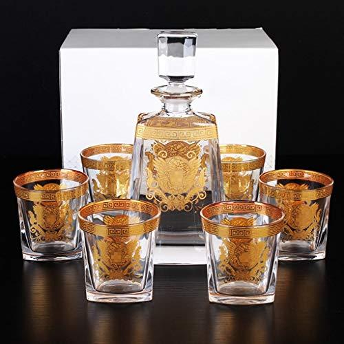 ZCXBHD Set De 7 Piezas - Whisky Licorera Sin Plomo Cristal Copa Vidrio Y Bodega Traje Vaso Vino Tinto Botella Y 6 X Gafas Gold Edge Perfectamente Regalo (Color : B)