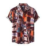 Camisa de manga corta para hombre, de verano, con solapas, con estampado de flores, para el tiempo libre, para la playa B_Orange XXL