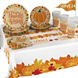 DESIGNED FOR 24 PEOPLE: Thanksgiving tableware includes 9″Thanksgiving paper plates X 24 pcs, 7″disposable paper dessert plates X 24 pcs, 13″ X 13″Thanksgiving napkins(unfolded) x 24 pcs, 1 piece of 54″X 108″Thanksgiving disposable tablecloth and 9 o...